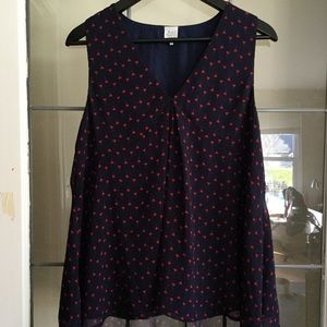 Karl Marc Jacob flowy top Sz Large Navy Red hearts